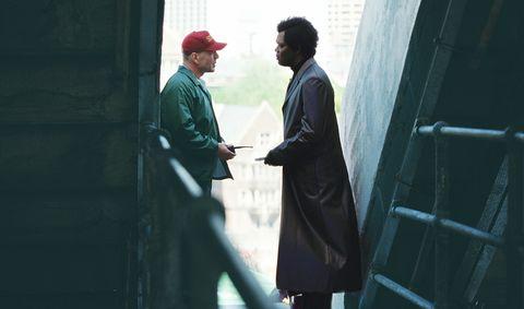 Standing, Conversation, Scene, Overcoat, Frock coat, Suit trousers, Acting, Gesture,