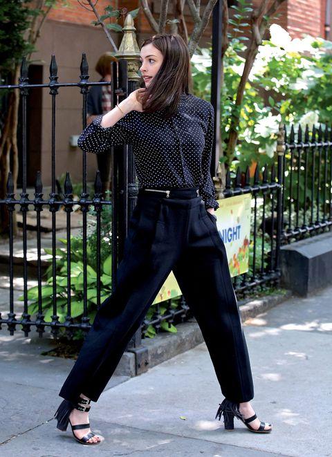 Clothing, Footwear, Leg, Sleeve, Sandal, Style, Street fashion, Waist, Foot, Bag,