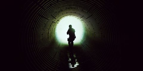 Standing, Darkness, Light, Silhouette, Backlighting, Tints and shades, Shadow, Pedestrian, Symmetry, Tunnel,