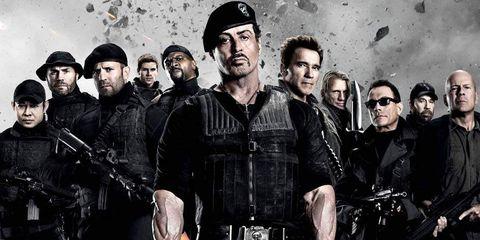 People, Cap, Team, Machine gun, Air gun, Fictional character, Shotgun, Baseball cap, Action film, Crew,