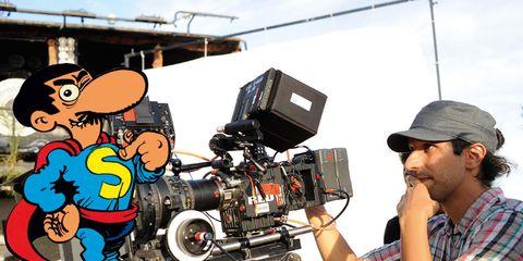 Video camera, Cap, Shirt, Plaid, Cameras & optics, Camera, Tartan, Camera operator, Videographer, Filmmaking,