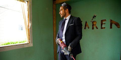 Blazer, White-collar worker, Tool, Tie, Pocket, Suit trousers, Shotgun, Chainsaw,