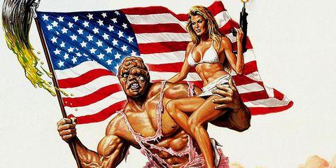 Human, Flag, Flag of the united states, Art, Muscle, Chest, Mythology, Painting, Symbol, Illustration,