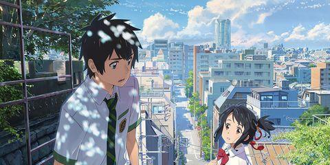 Human body, Animation, Mammal, Black hair, Cartoon, Fiction, Animated cartoon, Roof, Anime, Tower block,