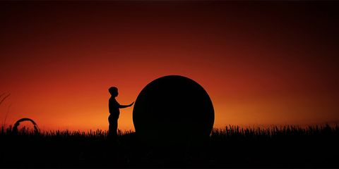 People in nature, Silhouette, Sunlight, Orange, Sunset, Backlighting, Morning, Evening, Astronomical object, Heat,