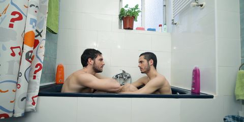 Hairstyle, Fun, Shoulder, Room, Bathtub, Photograph, Joint, Barechested, Chest, Wall,