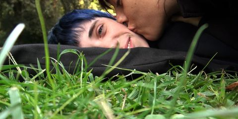 Nose, Human, Lip, Grass, Skin, Mammal, Happy, People in nature, Facial expression, Black hair,