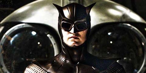 Fictional character, Personal protective equipment, Superhero, Hero, Masque, Batman, Leather, Supervillain, Armour, Fiction,
