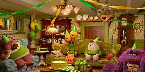 Green, Lighting, Room, Interior design, Ceiling, Toy, Light fixture, Interior design, Animation, Decoration,