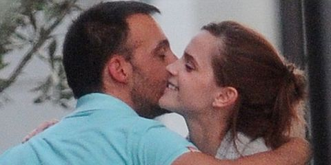 Nose, Ear, Forehead, Mammal, Happy, Facial expression, Romance, Kiss, Interaction, Love,