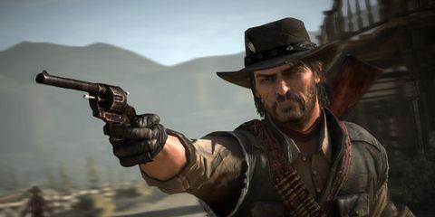 Hat, Shooting, Facial hair, Gunfighter, Revolver, Shooter game, Air gun, Shotgun, Fedora, Gun barrel,
