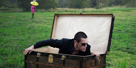 Grass, Box, Grassland, Baggage, Trunk,