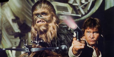 Chewbacca, Fictional character, Fiction, Costume, Action film, Movie, Acting, Primate, Artificial hair integrations, Glove,