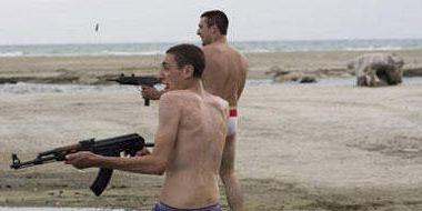 Fun, Human body, Shoulder, Shooting, Gun, Standing, Photograph, Joint, Firearm, Landscape,