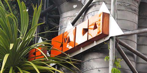 Orange, Iron, Building material, Traffic sign, Steel, Sign,
