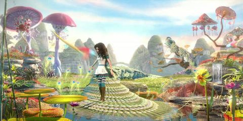 Nature, Garden, People in nature, Art, Animation, Water feature, Aquatic plant, Illustration, Painting, Botanical garden,