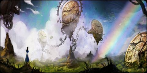 Atmosphere, Astronomical object, Space, Rainbow, World, Animation, Meteorological phenomenon, Clock, Painting, Watch,