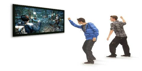 Trousers, Jeans, Standing, Jacket, Denim, Ice skate, Television set, Gesture, Display device, Art exhibition,