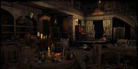 Room, Interior design, Darkness, Light fixture, Hall, Candle,