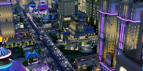Metropolitan area, Urban area, City, Purple, Neighbourhood, Metropolis, Cityscape, Commercial building, Street, Mixed-use,