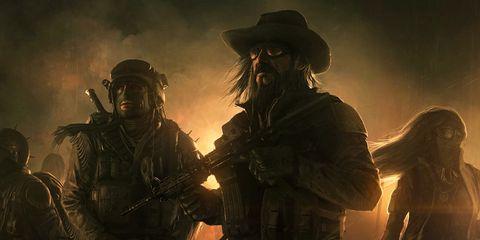 Soldier, Hat, Darkness, Military person, Machine gun, Helmet, Animation, Air gun, Ballistic vest, Fictional character,