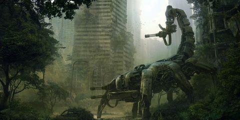 Soldier, Atmospheric phenomenon, Shooter game, Tower block, Action-adventure game, Pc game, Sculpture, Cg artwork, Games, Adventure game,
