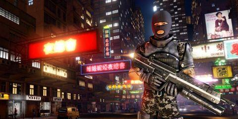 Window, Gun, Shooter game, Metropolitan area, Night, Urban area, Metropolis, Machine gun, Signage, Fictional character,