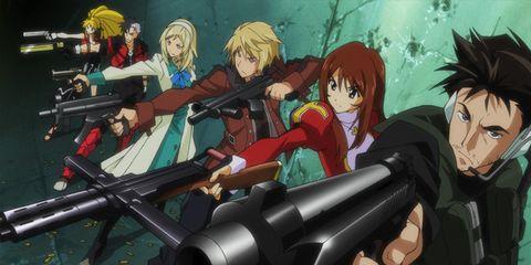 Animation, Cartoon, Anime, Machine gun, Cg artwork, Animated cartoon, Shooting, Air gun, Shotgun, Illustration,