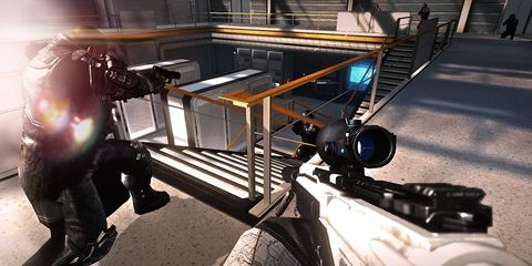 Machine, Shooter game, Stairs, Pc game, Steel, Video game software, Games,