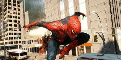 Spider-man, Mode of transport, Automotive exterior, Fictional character, Superhero, Automotive parking light, Carmine, Art, Bus, Commercial building,