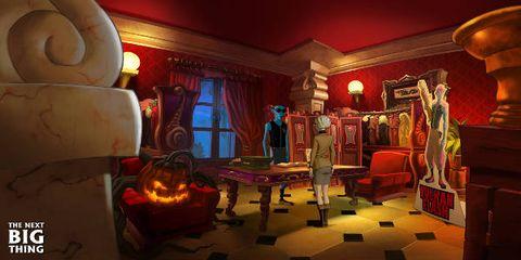 Lighting, Room, Interior design, Interior design, Living room, Curtain, Games, Hall, Couch, Lamp,