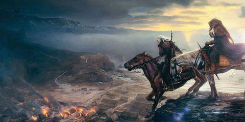Human, Horse, Bridle, Rein, Working animal, Horse tack, Art, Horse supplies, Pack animal, Geological phenomenon,