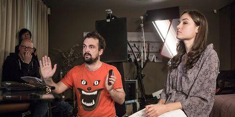 Nacho Vigalondo en el set de 'Open Windows' junto a Sasha Grey