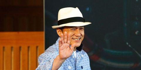 Clothing, Hat, Dress shirt, Sleeve, Collar, Fashion accessory, Street fashion, Tooth, Laugh, Sun hat,