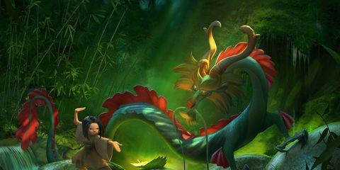 Dragon, Fictional character, Mythology, Illustration, Green dragon, Cg artwork, Organism, Mythical creature, Art, Adventure game,