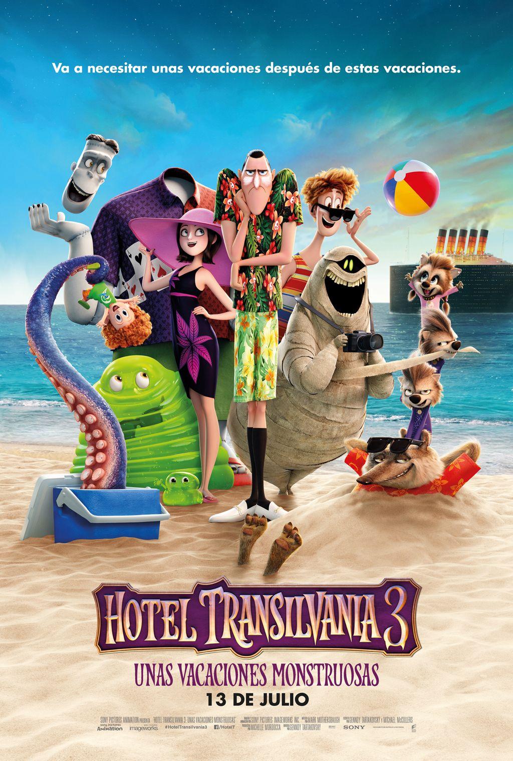 Hotel Transilvania 3 Nuevo Póster Con Los Monstruos Estilo Playero