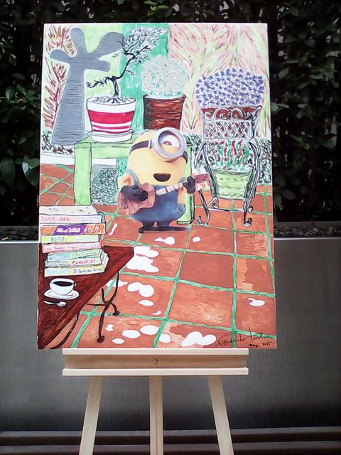 Art, Painting, Creative arts, Illustration, Cup, Easel, Folding chair, Paint, Drawing, Child art,