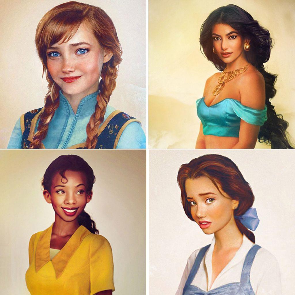 Retratos hiperrealistas de las princesas Disney