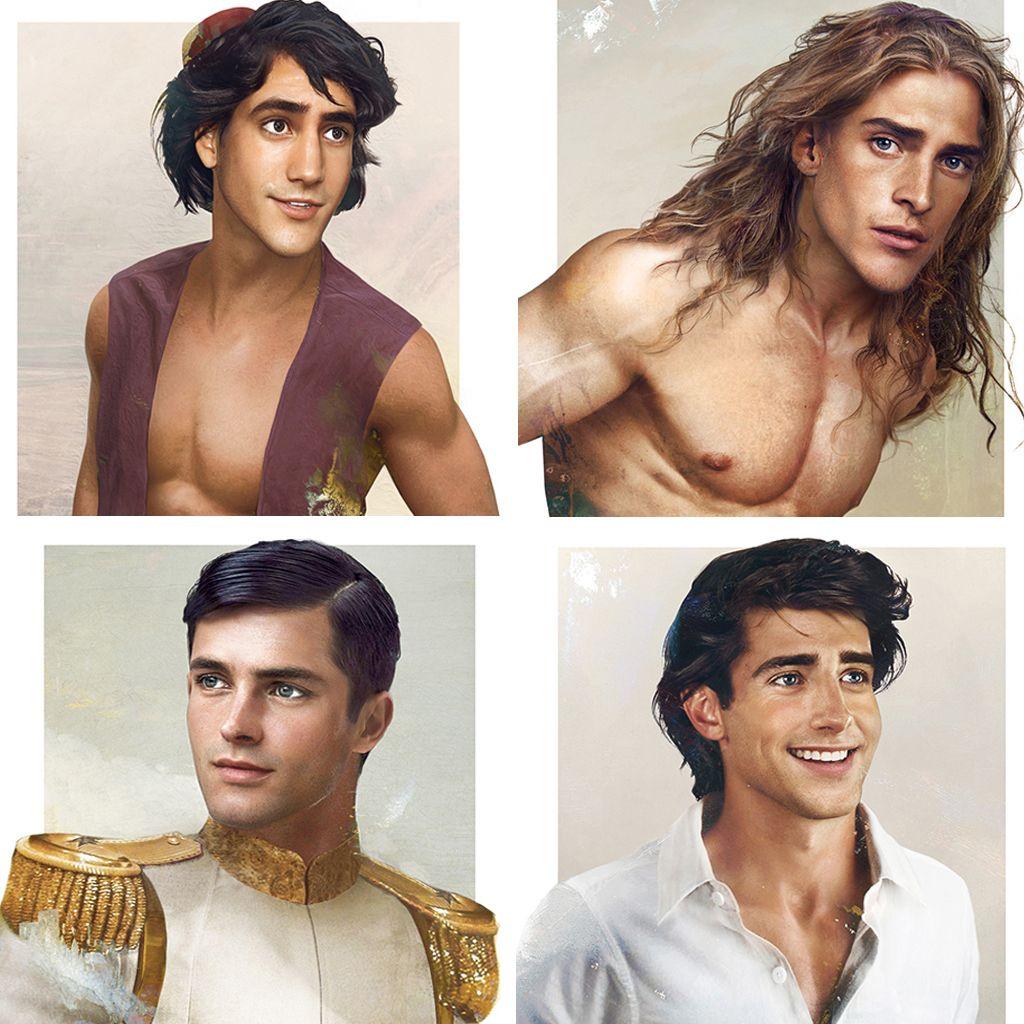Retratos hiperrealistas de los príncipes de Disney