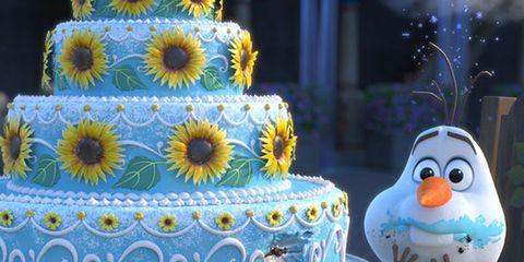 Snowman, Yellow, Cake, Serveware, Ingredient, Cuisine, Dessert, Baked goods, Food, Cake decorating,