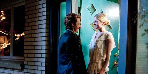 Coat, Suit, Fixture, Teal, Door, Street fashion, Brick, Love, Brickwork, Red hair,