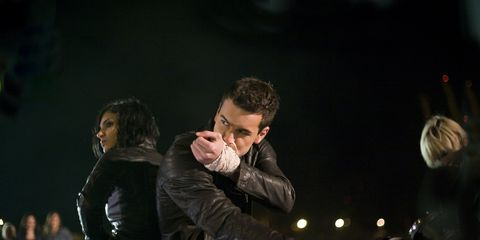 Music, Musician, Pop music, Jacket, Music artist, Leather jacket, Music venue, Leather, Percussion, Glove,