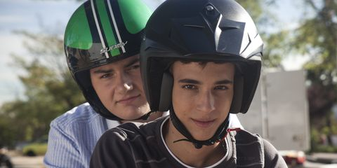 Clothing, Helmet, Personal protective equipment, Sports gear, White, Jewellery, Headgear, Cool, Youth, Motorcycle helmet,