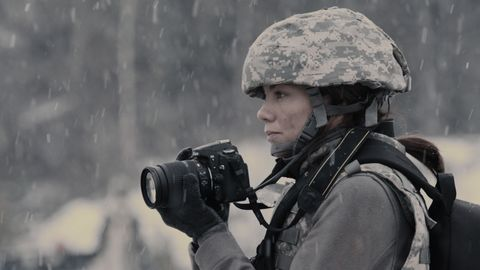 Soldier, Military person, Military uniform, Camera, Military camouflage, Photographer, Military, Army, Helmet, Digital camera,