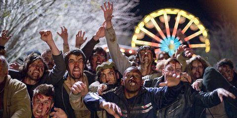 People, Fun, Social group, Community, Crowd, Celebrating, Cheering, Ferris wheel, Leather jacket, Crew,