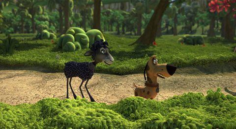 Garden, Animation, Terrestrial animal, Groundcover, Lawn ornament, Canidae, Environmental art, Dog breed, Plantation, Park,