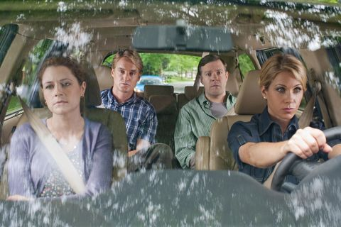 Leisure, Automotive window part, Windshield, Reflection, Transparent material, Passenger, Family,
