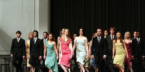 Event, Trousers, Social group, Dress, Suit, Formal wear, Coat, Suit trousers, Fashion, Blazer,