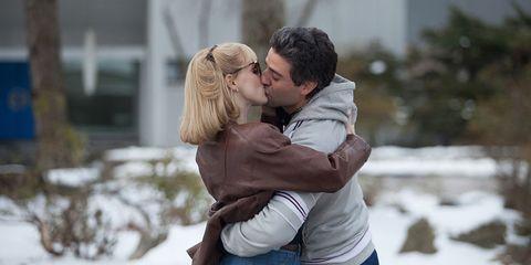 Winter, Photograph, Kiss, People in nature, Romance, Interaction, Love, Honeymoon, Denim, Gesture,