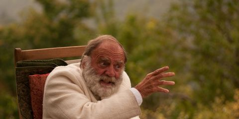 Facial hair, Sitting, Beard, People in nature, Wrinkle, Moustache, Elder, Lap, Thinking,